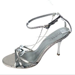 Guess Silver Snakeskin Leather Heels with Chains 8